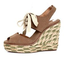1881e4637661 Tory Burch Linley High Wedge Espadrille Sandal Brown Women Sz 9 M 5199