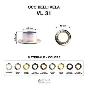 Occhielli vela VL31 in alluminio ferro ottone Ø 1,5 cm 100 pz anelli metallo