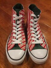 Converse All*Star Christmas Candy Cane Red/White/Green Striped Mens 8, Wo's10