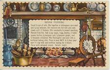 VINTAGE SPINNING WHEEL CORN COB INDIAN PUDDING RECIPE PRINT 1 TEA POT EGGS CARD