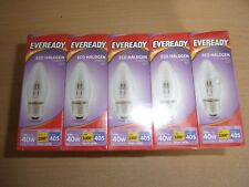 10 x Eveready Eco Halogen Clear Candle Light Bulb E27, 30W (40W Equivalent) Scre