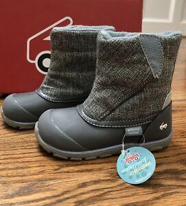 "NEW NIB $75 See Kai Run ""Baker"" waterproof winter boots gray snow toddler boy 9"