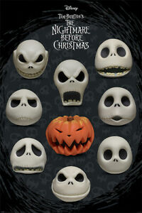 """The Nightmare Before Christmas - Movie Poster (Many Faces Of Jack) (24"""" X 36"""")"""