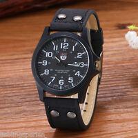Herren Uhr Armbanduhr Quarzuhr Analog Lederarmband Watch Schwarz 26cm L/P