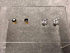 2pcs Magnetic Round Cut Clear CZ Men Unisex Stud Earrings No Piercing