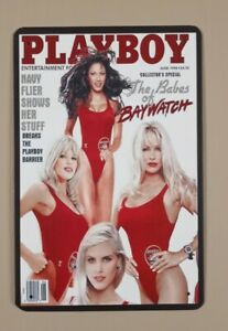 Babes of Baywatch Metal Plaque Tin Hanging Wall Sign NEW 1998 Playboy Cover