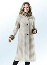 Mantel mit festem Kunstpelz-Besatz in Beige aus Schurwolle und Kaschmir