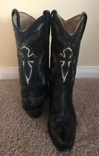 Corral Distressed Black Leather Cross Cowboy Boots Womens Size 7 1/2 M Western