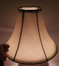 """Faux Leather & Cloth Table Lamp Shade Beige Tan 11"""" Wide Vintage Bell Lampshade"""