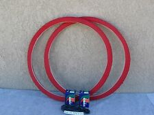 [2] NEW 700 X 35 ''C'' ALL RED BICYCLE TIRES WITH  [2] TUBES & [2] LINERS FIXIE