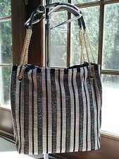 Sparkly Crystal Studded Black Stripes Handbag with Gold Chain Shoulder Straps