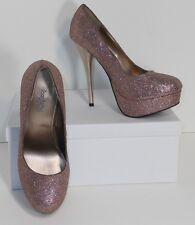 Charlotte Russe Pink Glitter Platform Stiletto Heels Pumps Shoes 6 M (S031)