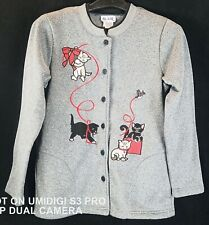 Blair Multi-color Cats Long Sleeve Cardigan Size Small # 86