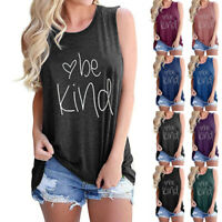 Women's Be Kind Summer Tank Tops Graphic T-Shirts Sleeveless Casual Tunic Blouse