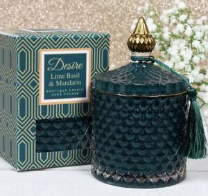 Desire Lime Basil & Mandarin Soy Boutique Candle Green Gold Tassel Glass Jar