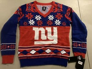 NWT New York Giants Women's V Neck Ugly Xmas Christmas Sweater XL Blue Red