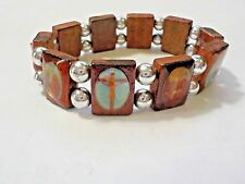 Wooden Beads W/ Religious Pictorials Stretch Bracelet