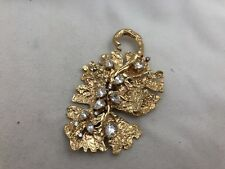 """Hand made 14kt Yellow Gold CZ  2"""" x 3 1/2"""" Leaf Pin Pendant Brooch"""