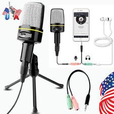 3.5mm Condenser Microphone Tripod Desktop Audio Recording Computer Pc Phone Mic