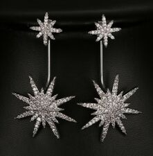 Wear 3 Ways: Micro Pave Silver Stars Asymmetric Drop or Stud CRYSTAL EARRINGS UK