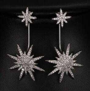 Wear 3 Ways: Micro Pave Silver Stars Asymmetric Drop or Stud CRYSTAL EARRINGS UK