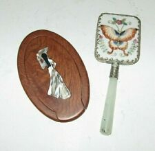 2 VINTAGE COMPACT MAKEUP MIRRORS WITH MOTHER OF PEARL & JADE, FREE SHIPPING