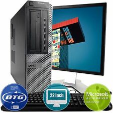 "Dell Optiplex 990 Desktop Computer PC Win 10 Intel i5-2400 Quad 8GB 22"" Monitor"
