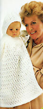 Knitting Pattern - Babies Vintage Lacy Hooded Cape & Booties 6-12M PO064