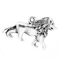 GS : 30 Löwe Charms Anhänger für Bettelarmband Kette Antik Silber Perlen 26x17mm