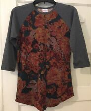 Lularoe Randy XS Gray Sleeves With Orange Roses Unique Faux Stitching Floral EUC
