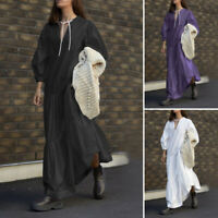 UK Womens Puff Sleeve V Neck Casual Loose Layered Cocktail Party Maxi Long Dress