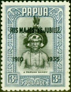 Papua 1935 3d Black & Blue SG152a 'Accent Flaw' Fine VLMM
