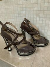 Brian Atwood Gray/Brown Leather with Metal Detail (Women's Us 8)