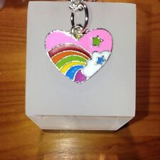"Rainbow Enamel Heart  Necklace 18"" Inch Powderpuff"