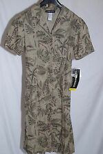 Sag Harbor Farm House Button Front Dress Olive Green Floral Silk Size S NWT