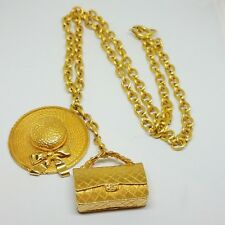 Authentic Rare Vintage Chanel Large Straw Hat Quilted Bag Necklace Pendant Chain