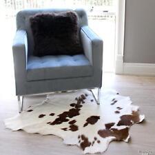 BROWN & WHITE COWHIDE FUR LEATHER CALF HIDE SKIN  FLOOR RUG UPHOLSTERY