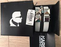 $295 Karl Lagerfeld white Watch Zip Double Strap Cuff/bracelet Ladies