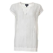 ARMANI JEANS Top White & Sheer Stripe RRP £129 BG