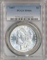 1887-P  Morgan SILVER DOLLAR  $1 PCGS MS-64  BLAST WHITE