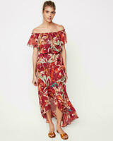 New NWT Express off the shoulder printed purple floral maxi dress Xs ,small,