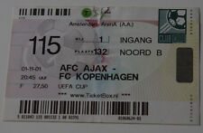 Ticket for collectors EC Ajax Amsterdam - FC Copenhagen 2001 Holland Denmark