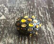 Glass Dome Fashion Ring 8 1/2 Vintage Chunky Brass Metal Mixed Amber Honey