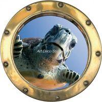 Sticker hublot trompe l'oeil Tortue H337 H337