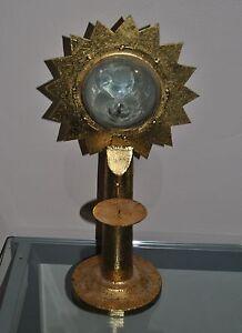 Celestial Metal Candle Holder Sun Wind Blown Glass Iron Gold