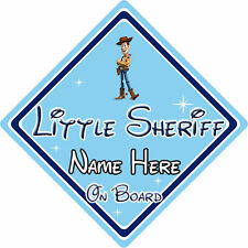 Pequeño Sheriff Personalizado A Bordo Coche Firmar-Disney Toy Story Woody