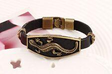 Men's Handmade Brown Leather Lizard Bracelet Wristband Bangle Cuff A408