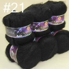 Sale 6x50gr balls NEW MOHAIR HAND Crochet KNITTING YARN Cashmere Silk Black 21