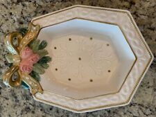 Fitz & Floyd Vintage Winter Rose Candle Collectible Tray with Gold accents/bow