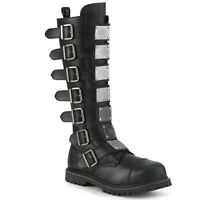 Demonia RIOT-21MP Men's Punk Combat Ska Costume Steel Toe Rubber Knee Boots
